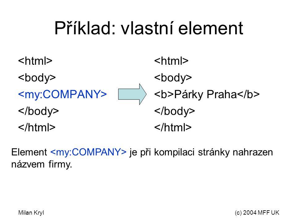 Milan Kryl(c) 2004 MFF UK Příklad: vlastní element Párky Praha Element je při kompilaci stránky nahrazen názvem firmy.