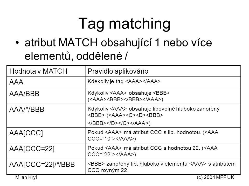Milan Kryl(c) 2004 MFF UK Tag matching atribut MATCH obsahující 1 nebo více elementů, oddělené / Hodnota v MATCHPravidlo aplikováno AAA Kdekoliv je tag AAA/BBB Kdykoliv obsahuje ( ) AAA/*/BBB Kdykoliv obsahuje libovolně hluboko zanořený ( ) AAA[CCC] Pokud má atribut CCC s lib.