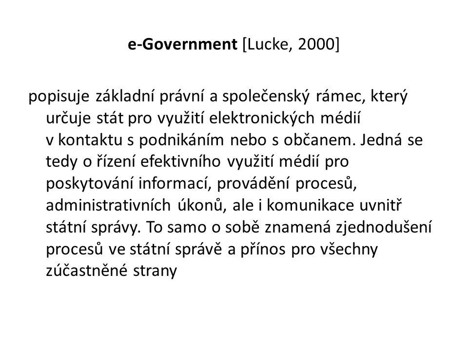 e-Government [Lucke, 2000] popisuje základní právní a společenský rámec, který určuje stát pro využití elektronických médií v kontaktu s podnikáním ne
