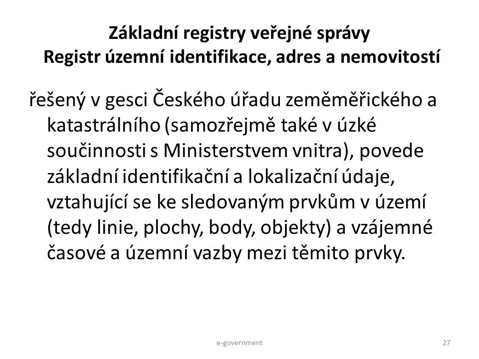 Základní registry veřejné správy Registr územní identifikace, adres a nemovitostí řešený v gesci Českého úřadu zeměměřického a katastrálního (samozřej