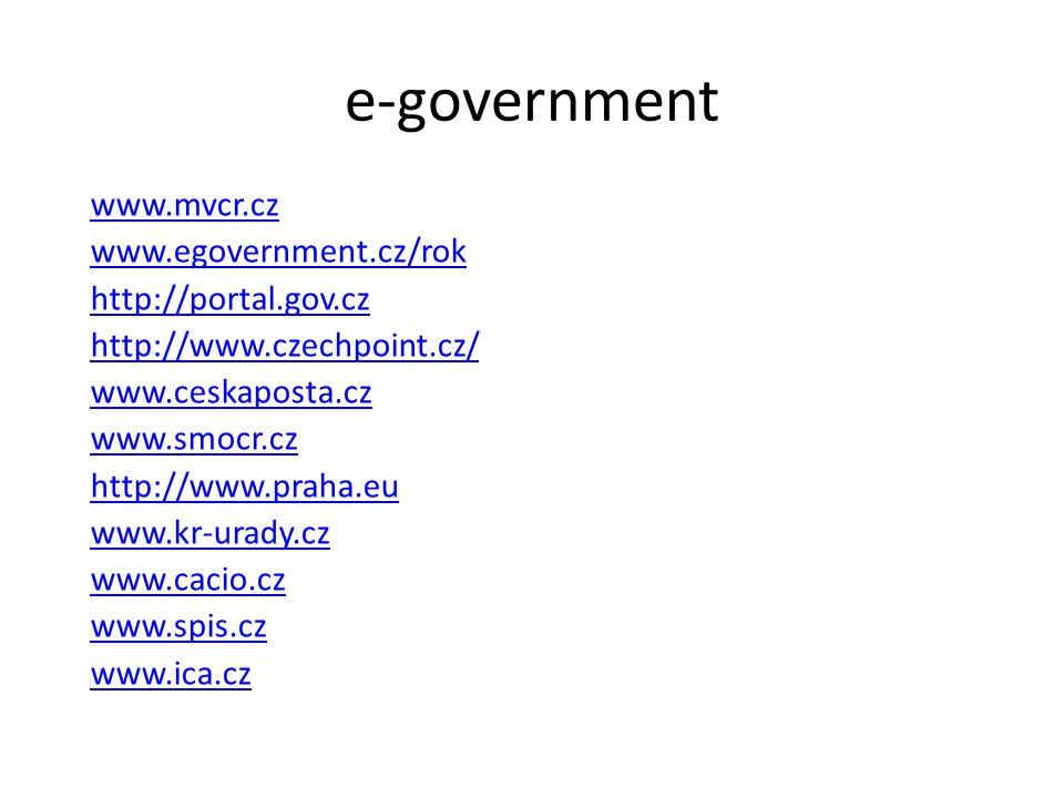 e-government www.mvcr.cz www.egovernment.cz/rok http://portal.gov.cz http://www.czechpoint.cz/ www.ceskaposta.cz www.smocr.cz http://www.praha.eu www.