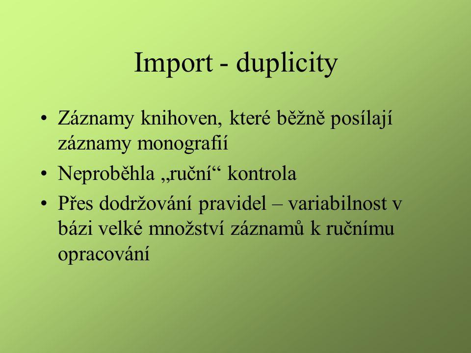 """Import - duplicity Záznamy knihoven, které běžně posílají záznamy monografií Neproběhla """"ruční"""" kontrola Přes dodržování pravidel – variabilnost v báz"""