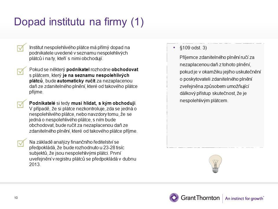 Dopad institutu na firmy (1) Institut nespolehlivého plátce má přímý dopad na podnikatele uvedené v seznamu nespolehlivých plátců i na ty, kteří s nimi obchodují.