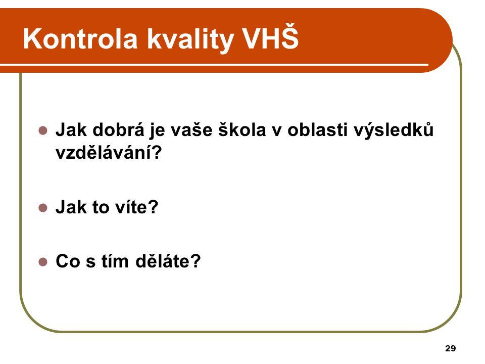 29 Kontrola kvality VHŠ Jak dobrá je vaše škola v oblasti výsledků vzdělávání.