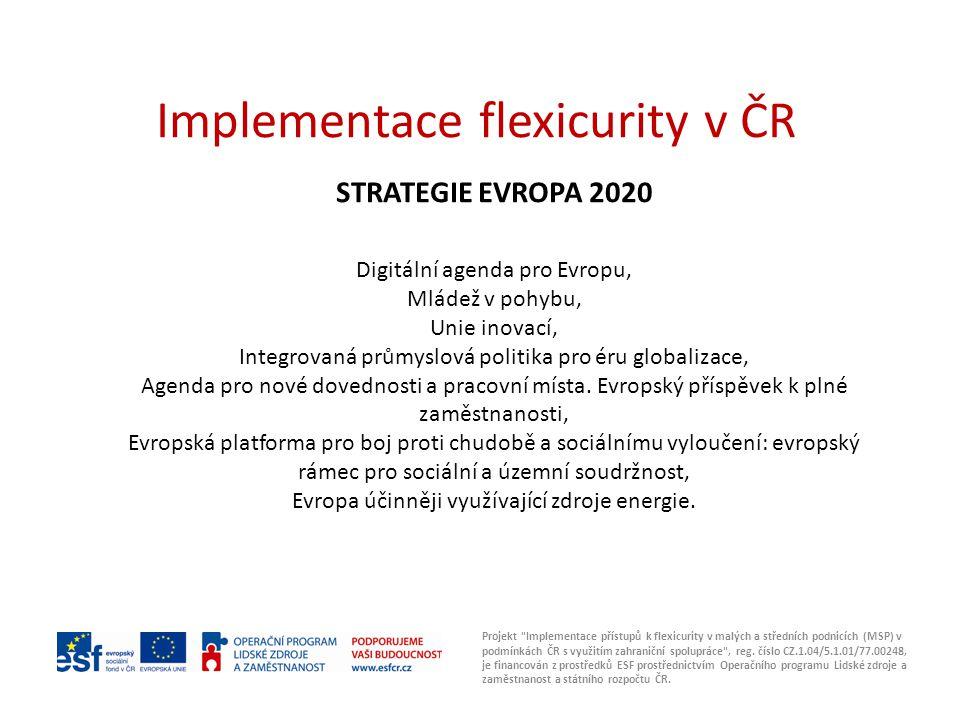 Implementace flexicurity v ČR STRATEGIE EVROPA 2020 Digitální agenda pro Evropu, Mládež v pohybu, Unie inovací, Integrovaná průmyslová politika pro éru globalizace, Agenda pro nové dovednosti a pracovní místa.