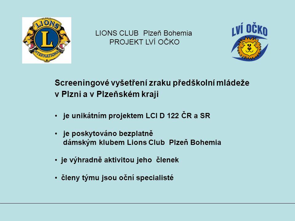 Screeningové vyšetření zraku předškolní mládeže v Plzni a v Plzeňském kraji je unikátním projektem LCI D 122 ČR a SR je poskytováno bezplatně dámským