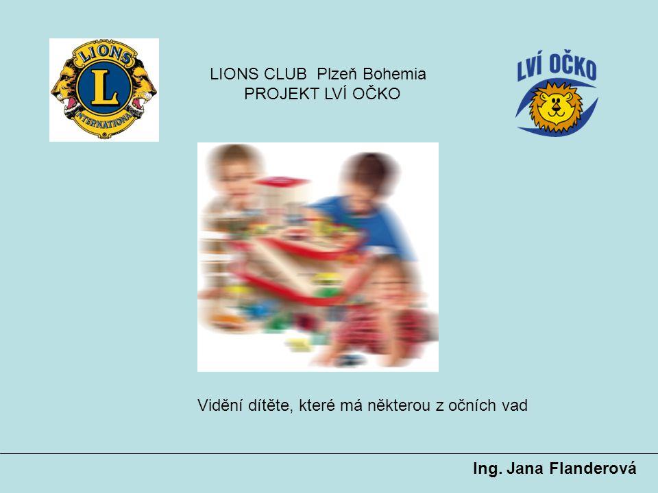 Ing. Jana Flanderová LIONS CLUB Plzeň Bohemia PROJEKT LVÍ OČKO Vidění dítěte, které má některou z očních vad