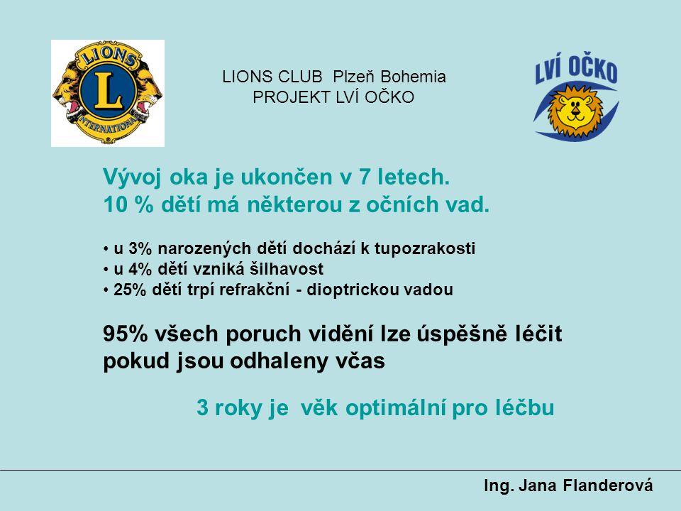 LIONS CLUB Plzeň Bohemia PROJEKT LVÍ OČKO Součástí vyšetření očním lékařem je měření zraku videokamerou Plusoptix A09