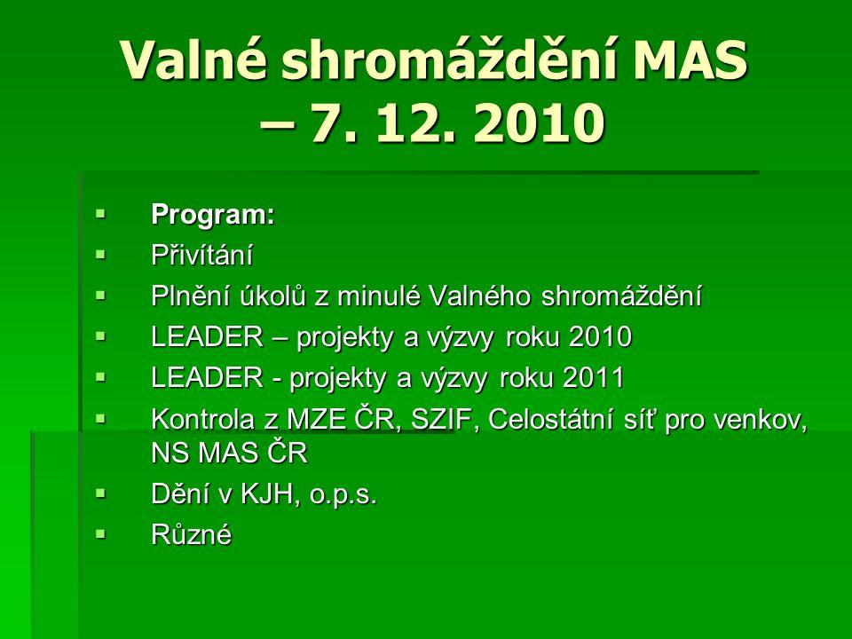 Valné shromáždění MAS – 7. 12.
