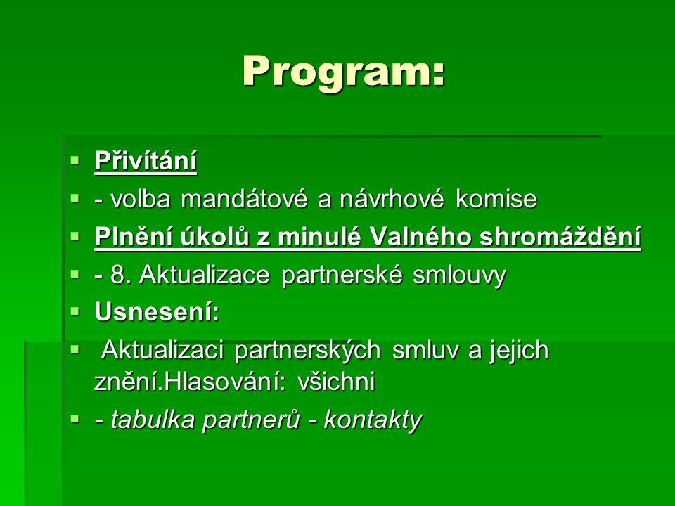 Program:  Přivítání  - volba mandátové a návrhové komise  Plnění úkolů z minulé Valného shromáždění  - 8.