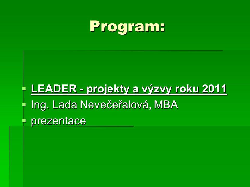 Program:  LEADER - projekty a výzvy roku 2011  Ing. Lada Nevečeřalová, MBA  prezentace