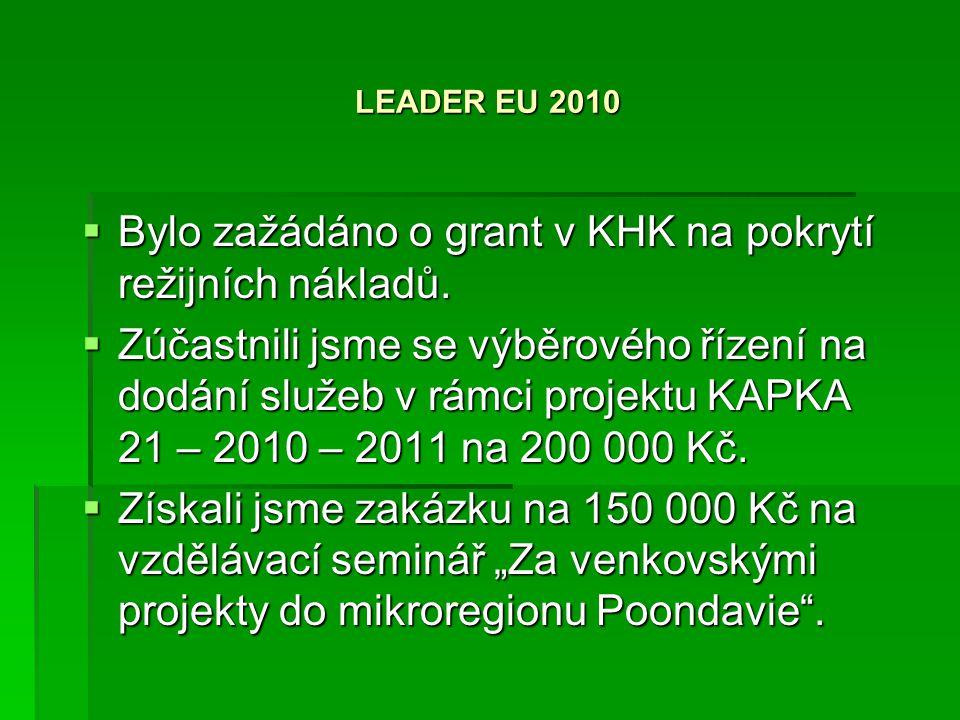 LEADER EU 2010  Bylo zažádáno o grant v KHK na pokrytí režijních nákladů.