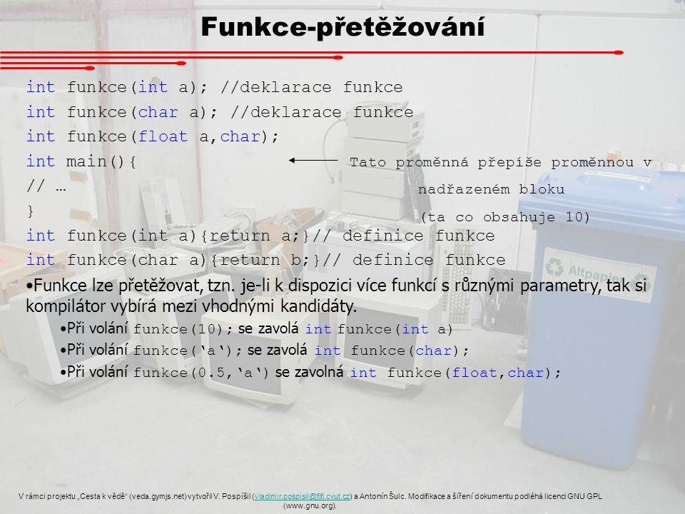 """Funkce-přetěžování V rámci projektu """"Cesta k vědě"""" (veda.gymjs.net) vytvořil V. Pospíšil (vladimir.pospisil@fjfi.cvut.cz) a Antonín Šulc. Modifikace a"""