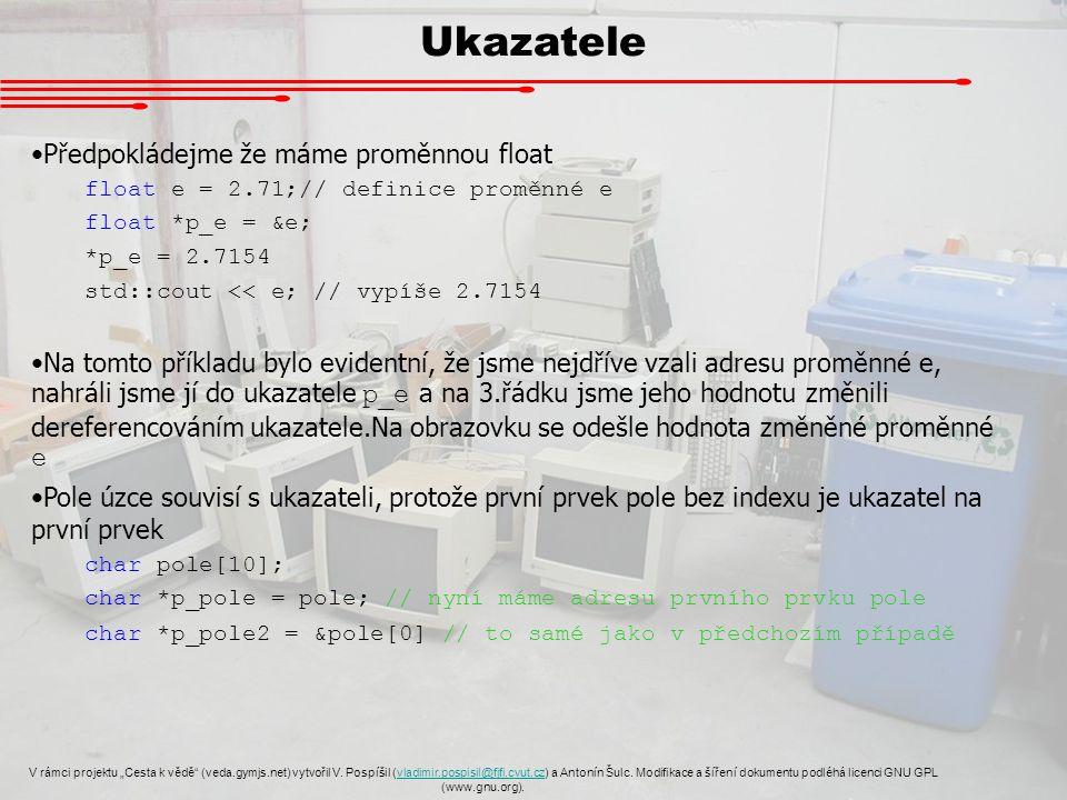"""Ukazatele V rámci projektu """"Cesta k vědě (veda.gymjs.net) vytvořil V."""