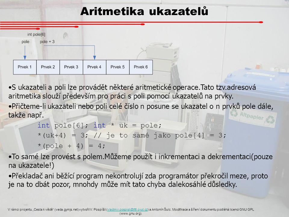 """Aritmetika ukazatelů V rámci projektu """"Cesta k vědě (veda.gymjs.net) vytvořil V."""