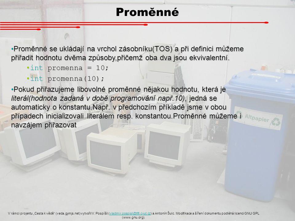 """Ukázka proměnné V rámci projektu """"Cesta k vědě (veda.gymjs.net) vytvořil V."""