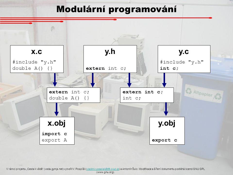 """Modulární programování V rámci projektu """"Cesta k vědě (veda.gymjs.net) vytvořil V."""