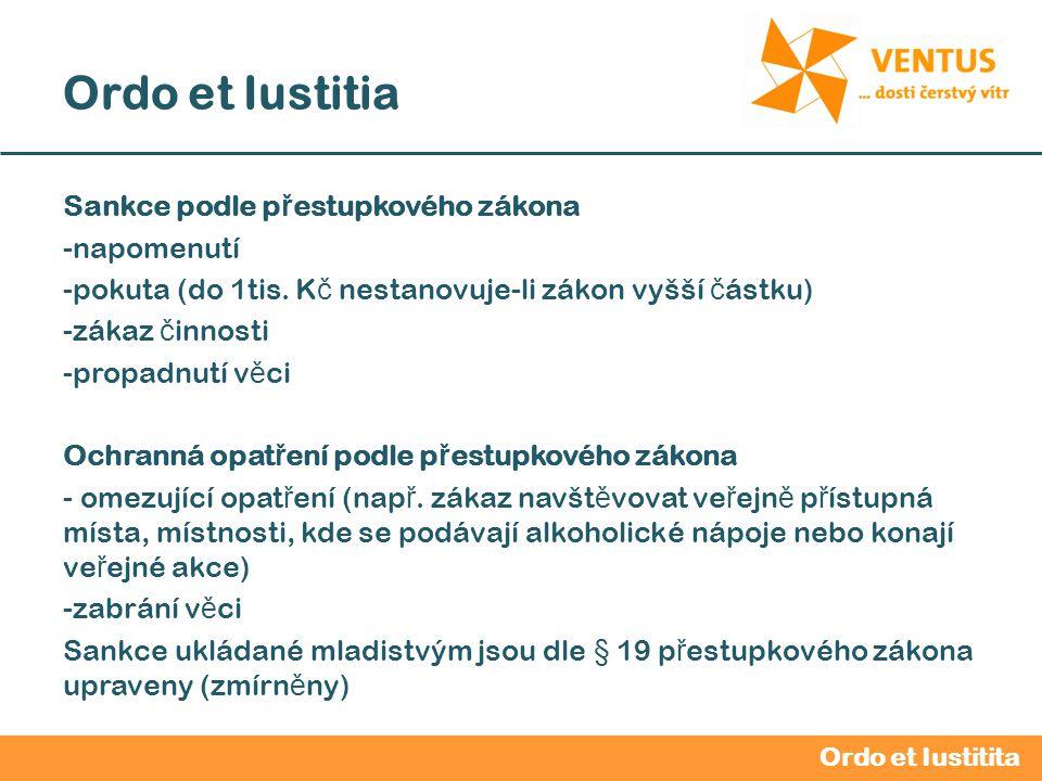 2012 / 2013 Ordo et Iustitia Sankce podle p ř estupkového zákona -napomenutí -pokuta (do 1tis.