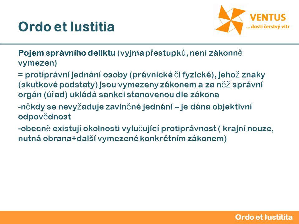 2012 / 2013 Ordo et Iustitia Pojem správního deliktu (vyjma p ř estupk ů, není zákonn ě vymezen) = protiprávní jednání osoby (právnické č i fyzické),