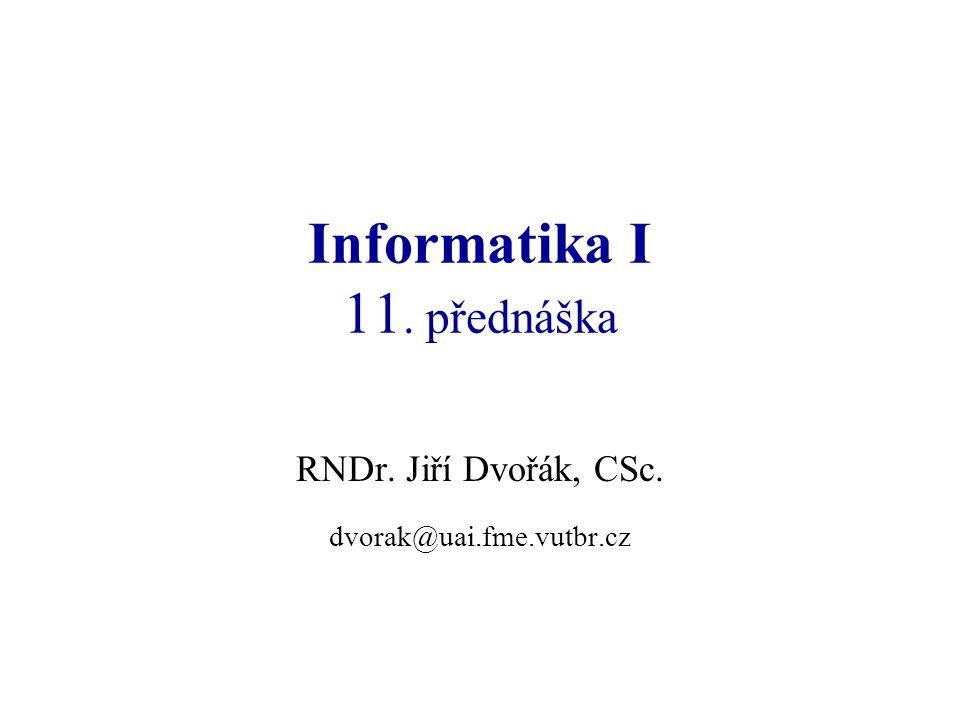 Informatika I: přednáška 1122 Registry 16-bitového procesoru Registry všeobecného použití (H – horní byte, L – spodní byte): AX (AH, AL) střadač (Accumulator) BX (BH, BL) bázový registr (Base register) CX (CH, CL) čítač (Count register) DX (DH, DL) datový registr (Data register) Segmentové registry: CSkódový segment (Code Segment); pro odkazy na adresy instrukcí DSdatový segment (Data Segment); SSzásobníkový segment (Stack Segment); při práci se zásobníkem ESalternativní segment (Extra Segment); při operacích s řetězci Speciální registry: IPUkazatel instrukcí (Instruction Pointer) SPUkazatel zásobníku (Stack Pointer) BPUkazatel báze (Base Pointer) SIZdrojový index (Source Index) DICílový index (Destination Index) FRegistr stavových příznaků (Status Flags)
