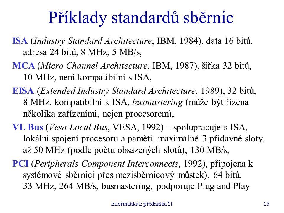 Informatika I: přednáška 1116 Příklady standardů sběrnic ISA (Industry Standard Architecture, IBM, 1984), data 16 bitů, adresa 24 bitů, 8 MHz, 5 MB/s,