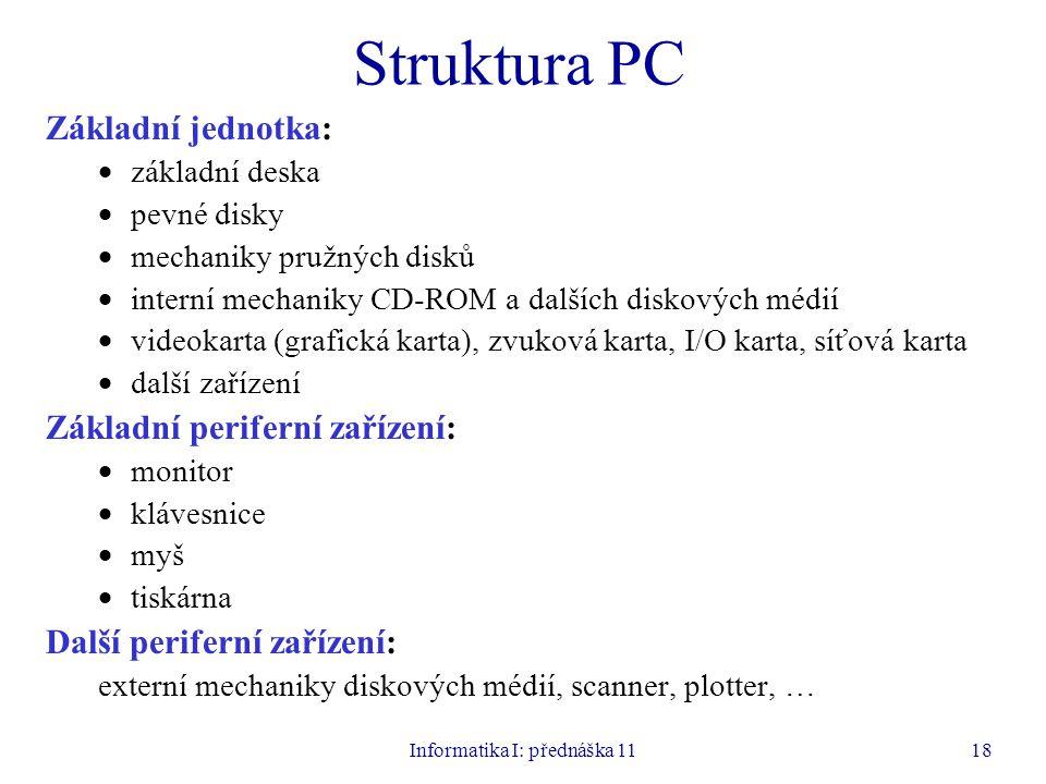 Informatika I: přednáška 1118 Struktura PC Základní jednotka:  základní deska  pevné disky  mechaniky pružných disků  interní mechaniky CD-ROM a d
