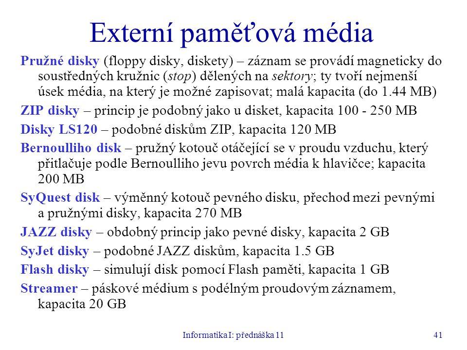 Informatika I: přednáška 1141 Externí paměťová média Pružné disky (floppy disky, diskety) – záznam se provádí magneticky do soustředných kružnic (stop
