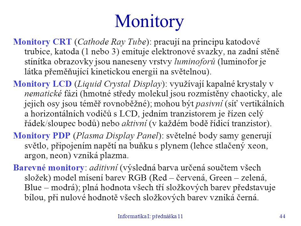 Informatika I: přednáška 1144 Monitory Monitory CRT (Cathode Ray Tube): pracují na principu katodové trubice, katoda (1 nebo 3) emituje elektronové sv