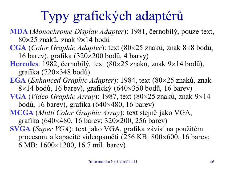 Informatika I: přednáška 1146 Typy grafických adaptérů MDA (Monochrome Display Adapter): 1981, černobílý, pouze text, 80  25 znaků, znak 9  14 bodů