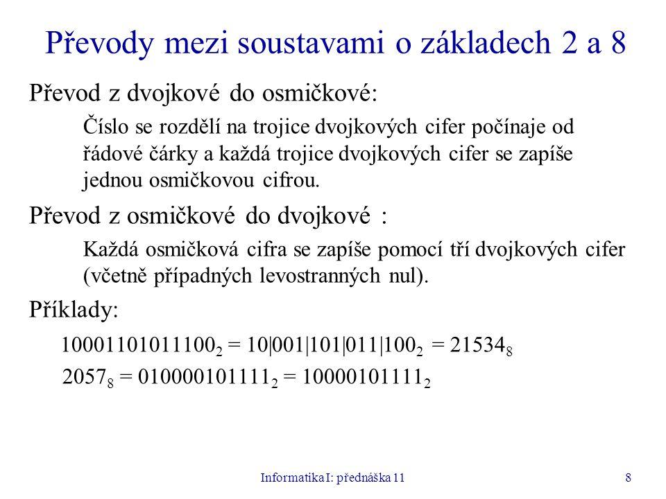 Informatika I: přednáška 119 Převody mezi soustavami o základech 2 a 16 Převod z dvojkové do šestnáctkové: Číslo se rozdělí na čtveřice dvojkových cifer počínaje od řádové čárky a každá čtveřice dvojkových cifer se zapíše jednou šestnáctkovou cifrou.