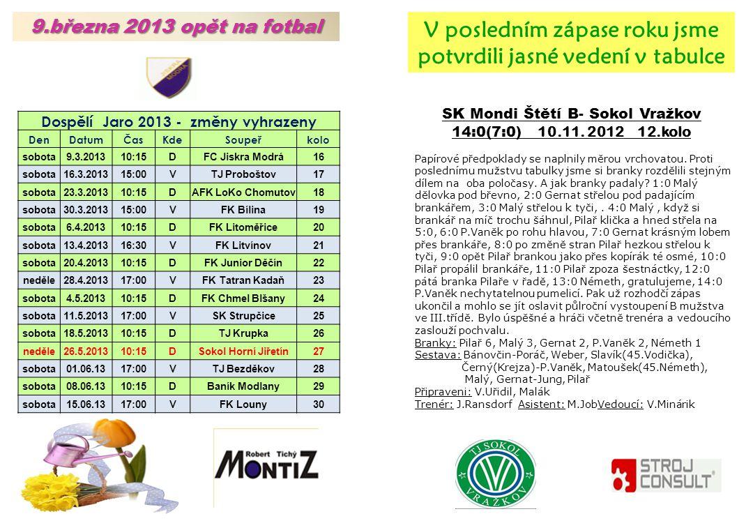 SK Mondi Štětí B- Sokol Vražkov 14:0(7:0) 10.11.