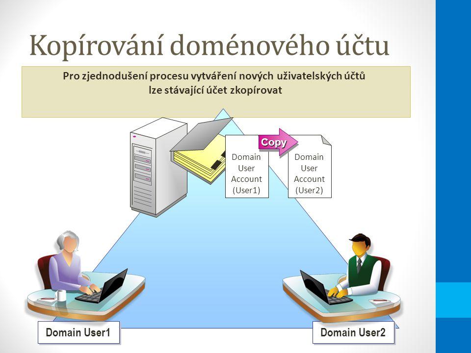 Kopírování doménového účtu Pro zjednodušení procesu vytváření nových uživatelských účtů lze stávající účet zkopírovat Domain User Account (User1) Domain User Account (User2) CopyCopy Domain User2 Domain User1