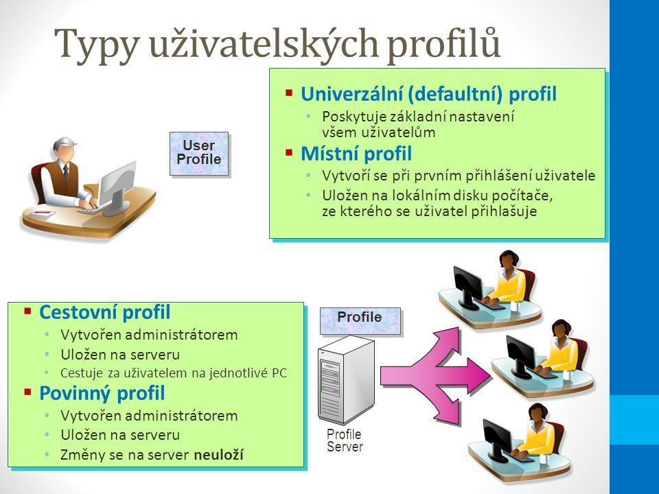 Typy uživatelských profilů  Univerzální (defaultní) profil Poskytuje základní nastavení všem uživatelům  Místní profil Vytvoří se při prvním přihlášení uživatele Uložen na lokálním disku počítače, ze kterého se uživatel přihlašuje  Univerzální (defaultní) profil Poskytuje základní nastavení všem uživatelům  Místní profil Vytvoří se při prvním přihlášení uživatele Uložen na lokálním disku počítače, ze kterého se uživatel přihlašuje User Profile User Profile  Cestovní profil Vytvořen administrátorem Uložen na serveru Cestuje za uživatelem na jednotlivé PC  Povinný profil Vytvořen administrátorem Uložen na serveru Změny se na server neuloží  Cestovní profil Vytvořen administrátorem Uložen na serveru Cestuje za uživatelem na jednotlivé PC  Povinný profil Vytvořen administrátorem Uložen na serveru Změny se na server neuloží Profile Server