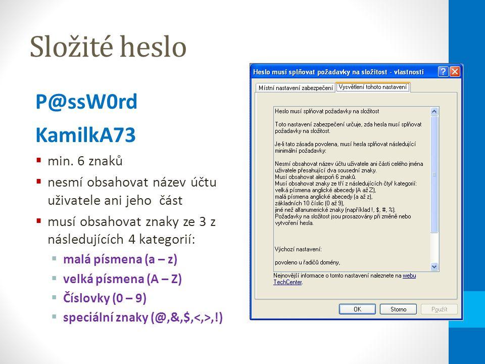 Složité heslo P@ssW0rd KamilkA73  min.