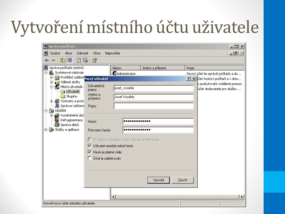 Instalace administrátorských nástrojů Nástroje budou v nabídce Nástroje pro správu Instalační balíček lze stáhnout ze serveru \\server\admin$\SYSTEM32\adminpak.msi Active Directory Domains and Trusts Active Directory Sites and Services Active Directory Users and Computers Component Services Component Management Configure your Sever Data Sources (ODBC) DHCP Distributed File System DNS Domain Controller Security Policy Domain Security Policy Event Viewer Internet Services Manager Licensing Local Security Policy Performance Routing and Remote Access Server Extensions Administrator Services Telnet Server Administration