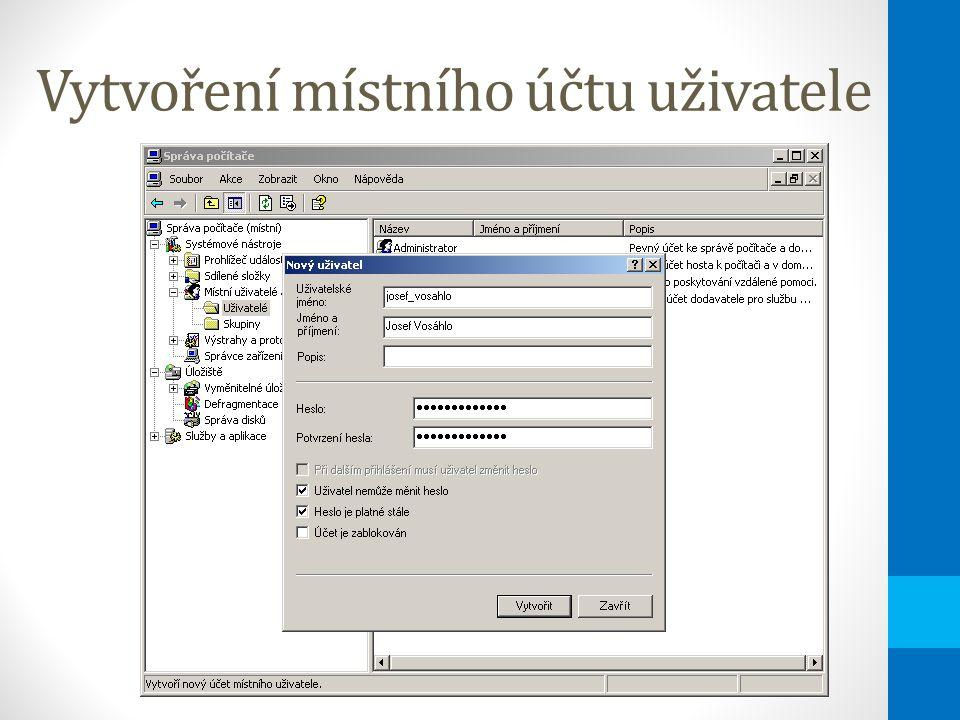 Vytvoření místního účtu uživatele