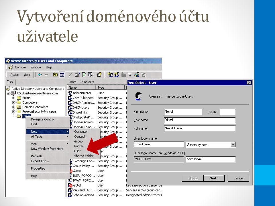 Vytvoření doménového účtu uživatele