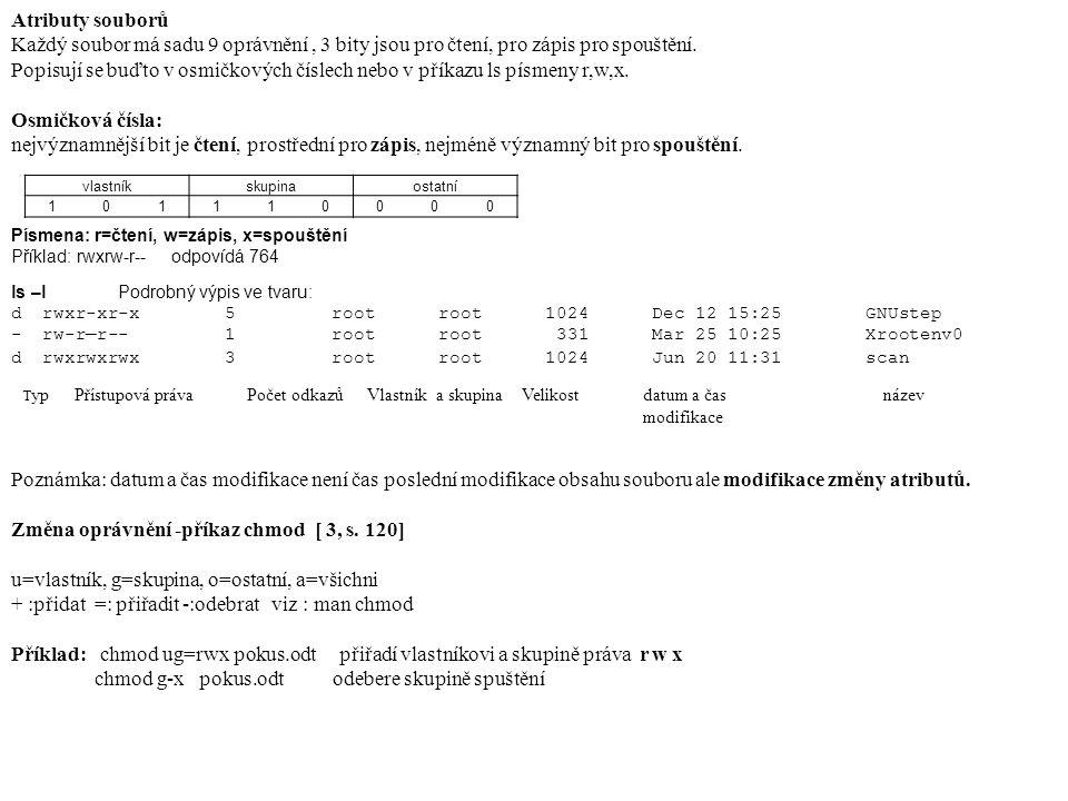 Atributy souborů Každý soubor má sadu 9 oprávnění, 3 bity jsou pro čtení, pro zápis pro spouštění.