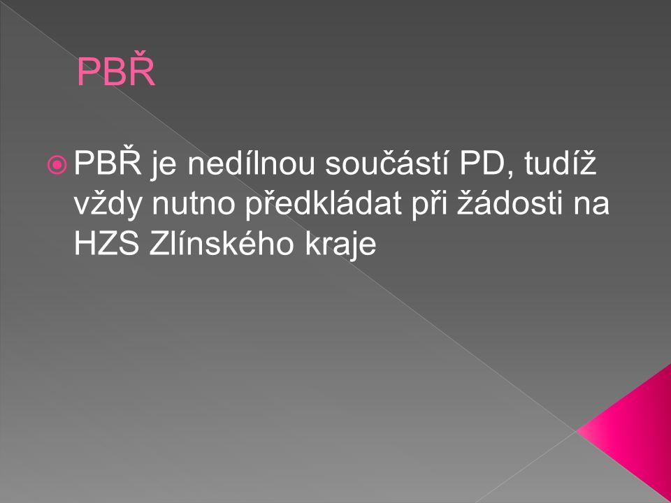  PBŘ je nedílnou součástí PD, tudíž vždy nutno předkládat při žádosti na HZS Zlínského kraje