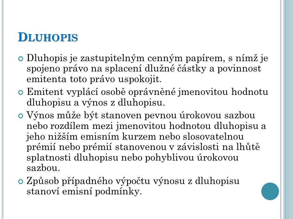 D LUHOPIS Dluhopis je zastupitelným cenným papírem, s nímž je spojeno právo na splacení dlužné částky a povinnost emitenta toto právo uspokojit. Emite