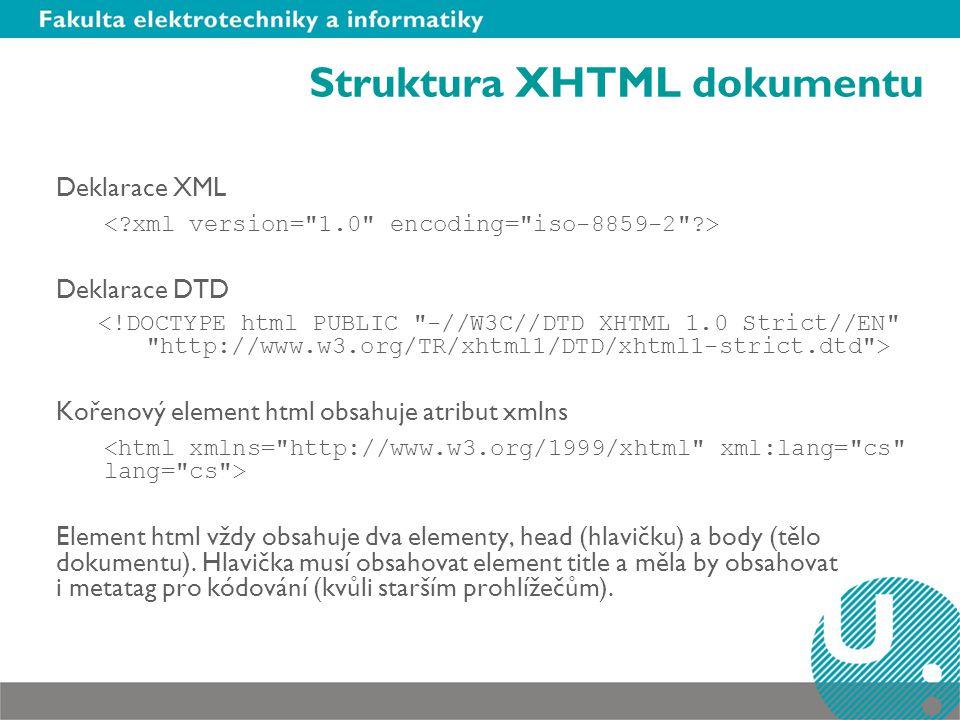Struktura XHTML dokumentu Deklarace XML Deklarace DTD Kořenový element html obsahuje atribut xmlns Element html vždy obsahuje dva elementy, head (hlavičku) a body (tělo dokumentu).