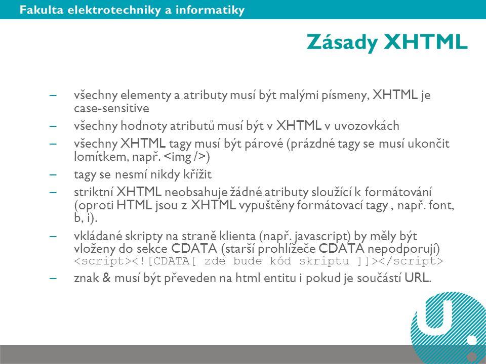 Zásady XHTML –všechny elementy a atributy musí být malými písmeny, XHTML je case-sensitive –všechny hodnoty atributů musí být v XHTML v uvozovkách –všechny XHTML tagy musí být párové (prázdné tagy se musí ukončit lomítkem, např.