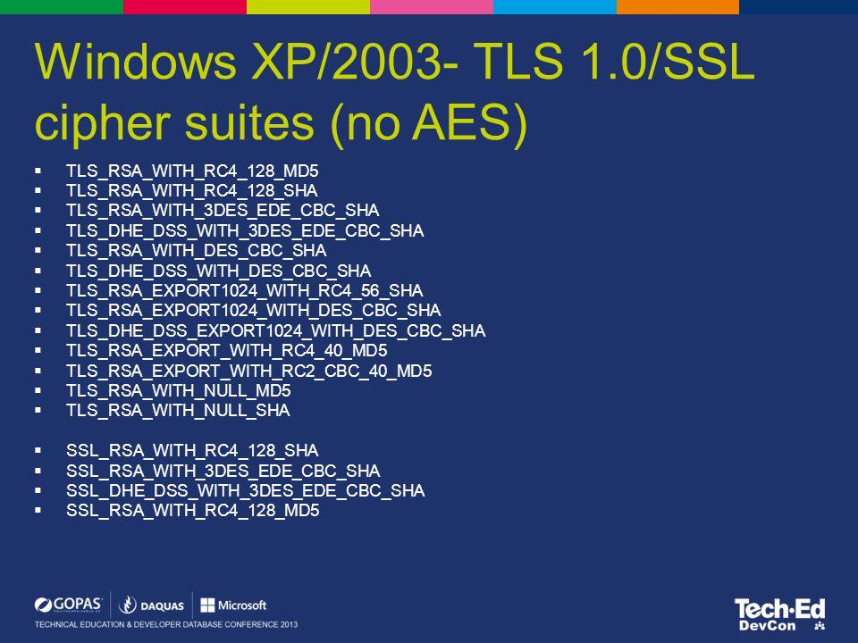 Windows XP/2003- TLS 1.0/SSL cipher suites (no AES)  TLS_RSA_WITH_RC4_128_MD5  TLS_RSA_WITH_RC4_128_SHA  TLS_RSA_WITH_3DES_EDE_CBC_SHA  TLS_DHE_DS