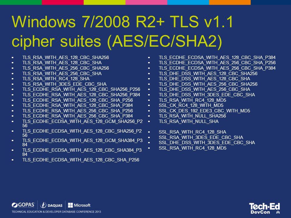 Windows 7/2008 R2+ TLS v1.1 cipher suites (AES/EC/SHA2)  TLS_RSA_WITH_AES_128_CBC_SHA256  TLS_RSA_WITH_AES_128_CBC_SHA  TLS_RSA_WITH_AES_256_CBC_SH