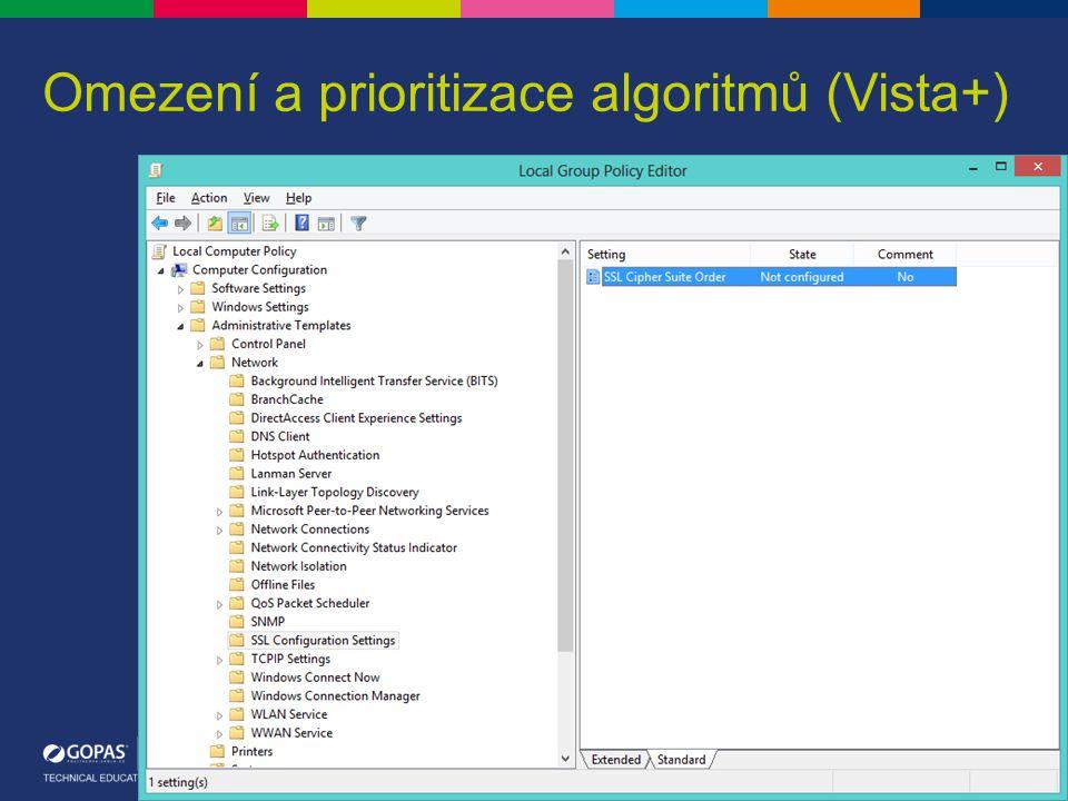 Omezení a prioritizace algoritmů (Vista+)