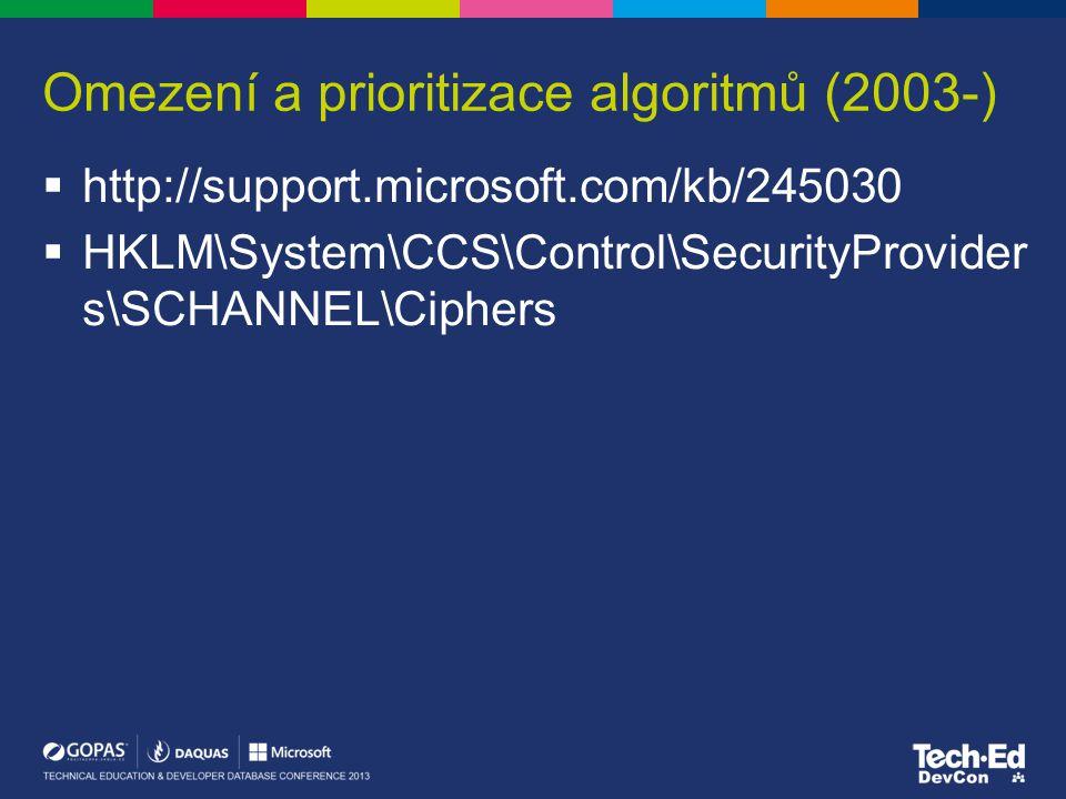 Omezení a prioritizace algoritmů (2003-)  http://support.microsoft.com/kb/245030  HKLM\System\CCS\Control\SecurityProvider s\SCHANNEL\Ciphers