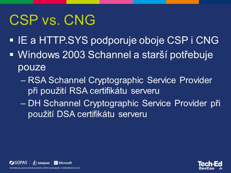 CSP vs. CNG  IE a HTTP.SYS podporuje oboje CSP i CNG  Windows 2003 Schannel a starší potřebuje pouze –RSA Schannel Cryptographic Service Provider př