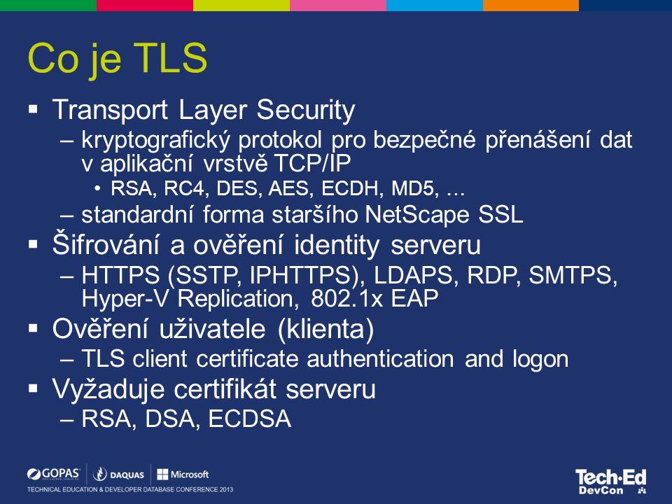 Co je TLS  Transport Layer Security –kryptografický protokol pro bezpečné přenášení dat v aplikační vrstvě TCP/IP RSA, RC4, DES, AES, ECDH, MD5, … –s