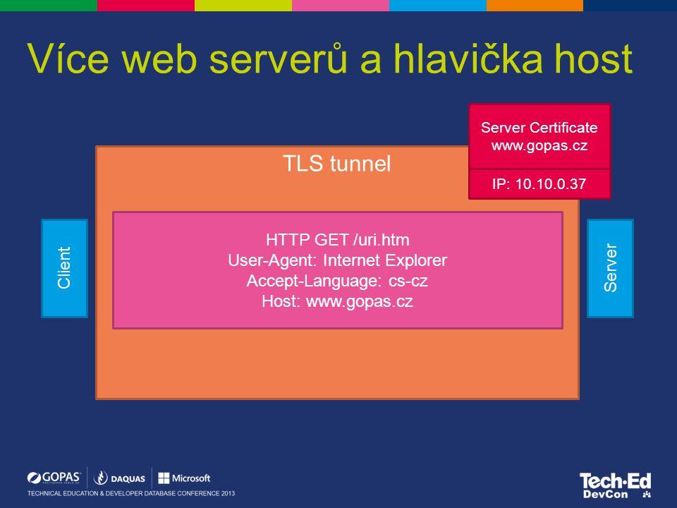 Více web serverů a hlavička host Client Server TLS tunnel Server Certificate www.gopas.cz HTTP GET /uri.htm User-Agent: Internet Explorer Accept-Langu