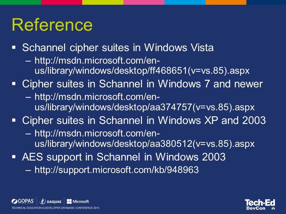 Reference  Schannel cipher suites in Windows Vista –http://msdn.microsoft.com/en- us/library/windows/desktop/ff468651(v=vs.85).aspx  Cipher suites i